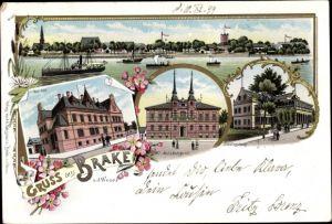 Litho Brake an der Unterweser, Amtsgericht, Schützenhaus, Postamt