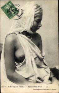 Ak Maghreb, Scènes et Types, Jeune femme arabe, Barbusig