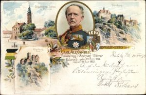 Litho Weimar in Thüringen, Großherzog Carl Alexander von Sachsen Weimar Eisenach, Schloss, Dornburg