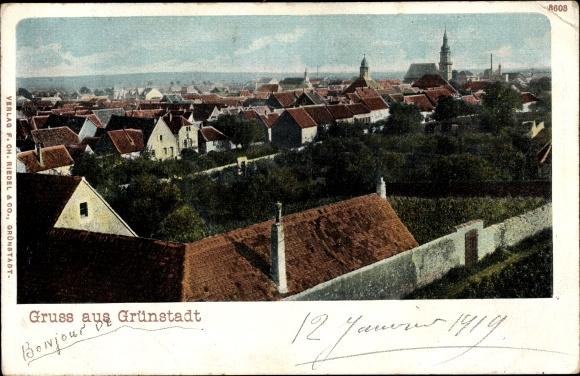 Ak Grünstadt in Rheinland Pfalz, Vogelschau auf den Ort