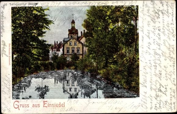 Ak Einsiedel Chemnitz Sachsen, Blick vom Wasser aus zur Altstadt
