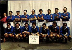 Ak Französische Rugby Nationalmannschaft, Portrait, Spiel gegen England 1972, 37 - 12