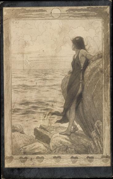 Künstler Ak Fidus, Am Gestade, leicht bekleidete Frau am Felsstrand