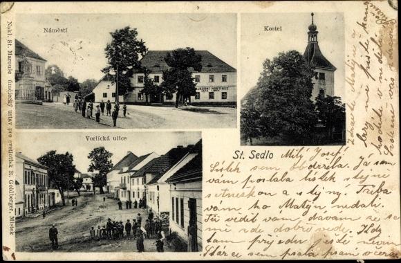 Ak Dolní Sedlo Spittelgrund Hrádek nad Nisou Grottau Reg. Reichenberg, Namesti, Kostel, Vorlicka ul.