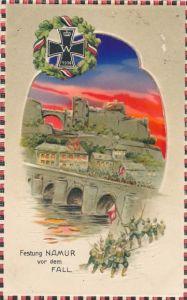 Halt gegen das Licht Relief Ak Namur Wallonien, Festung vor dem Fall, deutsche Truppen, EK