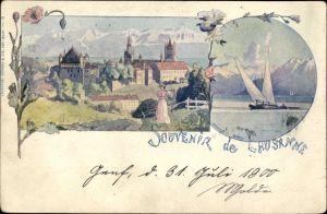 Litho Lausanne Kt. Waadt, Panorama, Segelboot