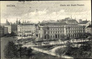 Ak Brno Brünn Südmähren, Glacis mit Stadttheater