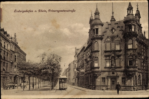 Ak Ludwigshafen am Rhein Rheinland Pfalz, Prinzregentenstraße, Straßenbahn