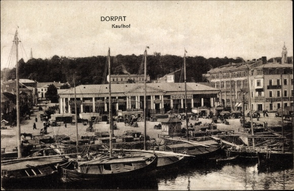 Ak Dorpat Estland, Kaufhof, Bootshafen