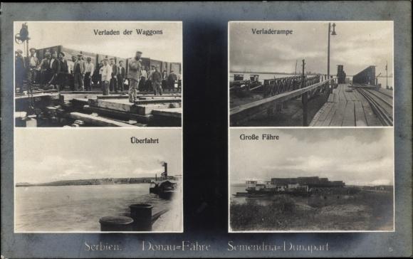 Ak Serbien, Donaufähre, Waggons, Verladerampe, Überfahrt
