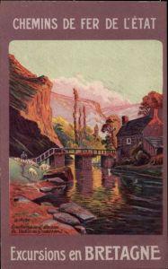 Künstler Ak Chemins de Fer de l'Etat, Excursions en Bretagne, pont, riviere