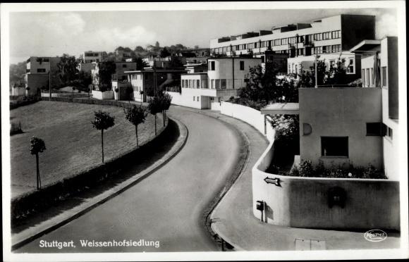 Ak Weißenhof Stuttgart ein Baden Württemberg, Siedlung, Straßenpartie