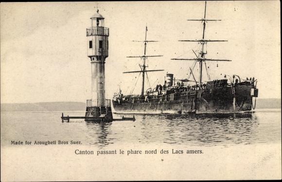 Ak Ägypten, Le Phare, Leuchtturm, Dampfer Canton