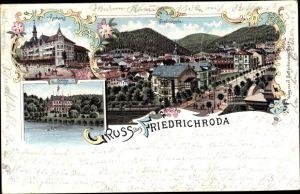 Litho Friedrichroda im Thüringer Wald, Kurhaus, Schloss Reinhardsbrunn, Ort