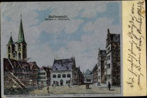 Ak Halberstadt in Sachsen Anhalt, Rathaus und Holzmarkt, Seidenimitat