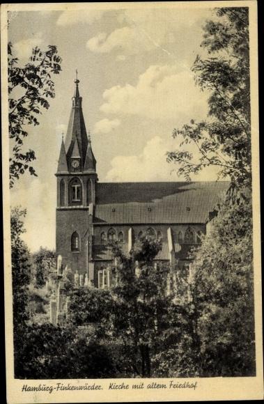 Ak Hamburg Mitte Finkenwerder, Kirche mit altem Friedhof 0