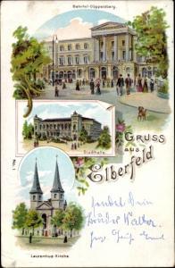 Litho Elberfeld Wuppertal, Bahnhof Döppersberg, Stadthalle, Laurentiuskirche