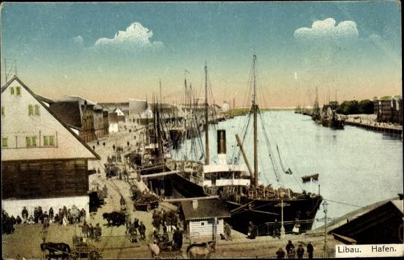 Ak Liepaja Libau Lettland, Blick auf den Hafen