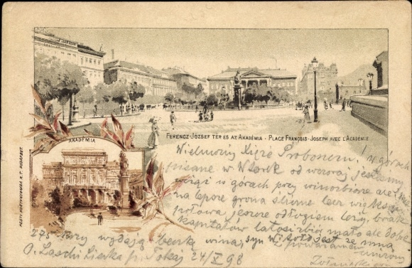 Ganzsachen Litho Budapest Ungarn, Ferencz Jozsef Ter es az Akademia