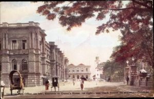 Ak Colombo Ceylon Sri Lanka, General Post Office, Entrance to Queens House, Clock Tower