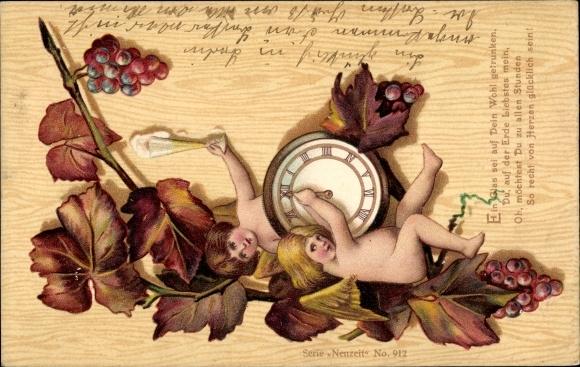 Litho Engel drehen an Uhr, Weinglas, Weinreben