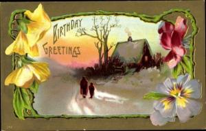 Präge Passepartout Ak Glückwunsch Geburtstag, Stiefmütterchen, Schneelandschaft, Haus