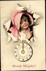 Ak Glückwunsch Neujahr, Uhr, Mitternacht, Mädchen mit Hut