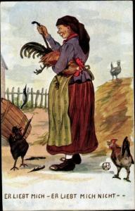 Künstler Ak Er liebt mich, er liebt mich nicht, Bäuerin beim Federrupfen eines Hahnes
