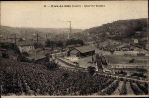 Ak Rive de Gier Loire, Quartier Couzon, chemin de fer