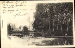 Ak Malesherbes Loiret, Pont et Barrage sur l'Essonne, peche a ligne