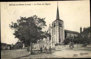 Ak Marcilly en Villette Loiret, La Place de l'Eglise
