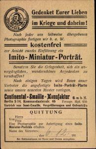 Ak Imito Miniatur Portrait, Gedenket eurer Lieben im Kriege und daheim