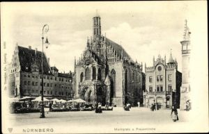 Ak Nürnberg in Mittelfranken Bayern, Marktplatz, Frauenkirche