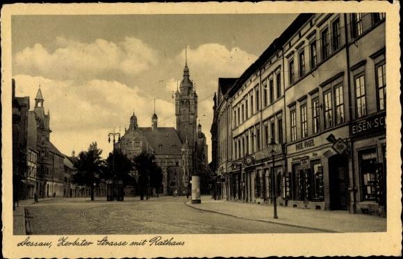 Ak Dessau in Sachsen Anhalt, Zerbster Straße mit Rathaus