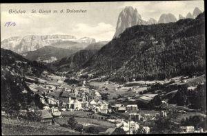 Ak St. Ulrich in Gröden Ortisei Südtirol, Panorama mit den Dolomiten