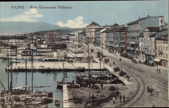 Ak Rijeka Fiume Kroatien, Riva Emanuele Filiberto