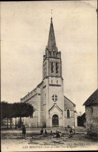 Ak Les Montils Loir et Cher, Vue de l'Église