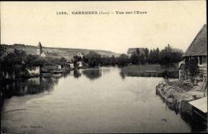 Ak Garennes Eure, Vue sur l'Eure, Vue générale