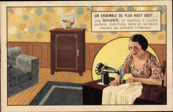 Ak Frau an Singer Nähmaschine, Werbung, Goldfische im Aquarium