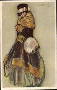 Künstler Ak Mauzan, Frau in Kleid, Hut, Portrait, Handwärmer aus Pelz