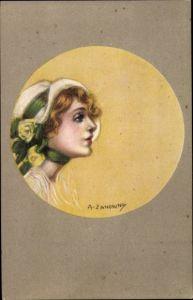 Künstler Ak Zandrino, A., Frau mit Hut, Rosen, Portrait