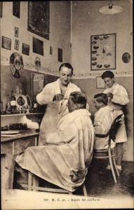Ak Salon de Coiffure, Frisörsalon, Haare Schneiden von Soldaten, Palmolive
