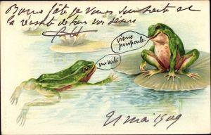 Litho Zwei Frösche im Teich