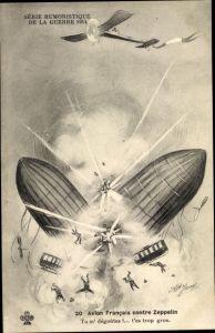 Ak Avion Francais contre Zeppelin, explodierender Zeppelin