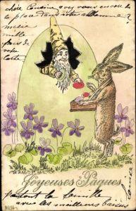 Präge Litho Glückwunsch Ostern, Zwerg in einem Osterei, Hase
