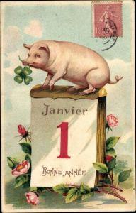 Präge Litho Glückwunsch Neujahr, Glücksschwein, Klee