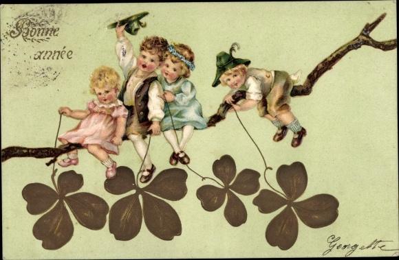 Präge Litho Glückwunsch Neujahr, Kinder auf einem Ast, Klee