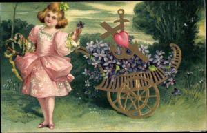 Präge Litho Mädchen mit einem Wagen, Glaube, Liebe, Hoffnung