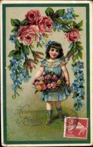 Präge Litho Glückwunsch Neujahr, Rosen, Vergissmeinnicht, Mädchen mit Blumen