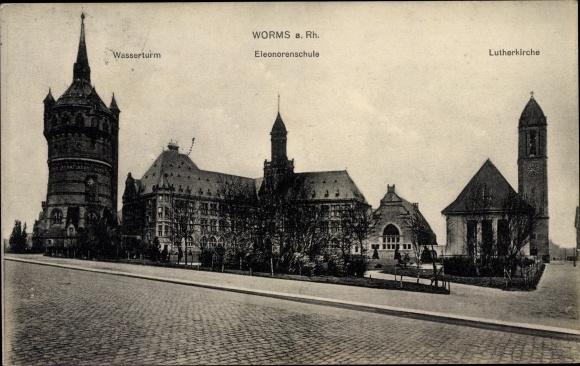 Ak Worms in Rheinland Pfalz, Lutherkirche, Eleonorenschule, Wasserturm 0